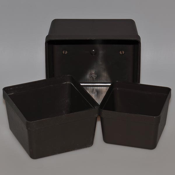 Square Container, brown, 13 x 13 x 9 cm, 10 pieces
